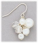 Earrings silver French hook with crystal and pearl bead cluster drop