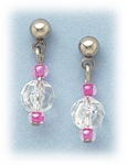 Pierced earrings silver posted ball with crystal and pink bead drop