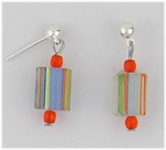 Pierced earrings silver posted ball multiple color cane glass bead