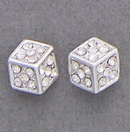 pierced earrings silver posted cube with crystal accents