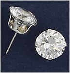 pierced earrings silver posted Cubic Zirconia 10 mm round