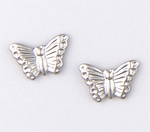 pierced earrings silver posted small butterfly
