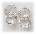 pierced earrings sliver posted interlocking cubic Zirconia circles