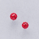 Pierced earrings stainless 4.5mm red pave fireball