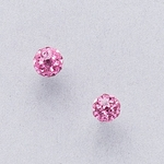Pierced earrings stainless 4.5mm rose pave fireball