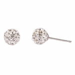 Pierced earrings stainless 6mm crystal pave fireball