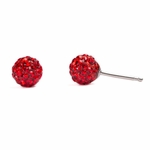 Pierced earrings stainless 6mm red pave fireball