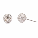 Pierced earrings stainless 8mm crystal pave fireball
