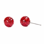 Pierced earrings stainless 8mm red pave fireball