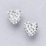 Pierced earrings stainless 8mm x 8mm April pave heart