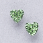 Pierced earrings stainless 8mm x 8mm August pave heart