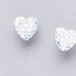 Pierced earrings stainless 8mm x 8mm Aurora Borealis pave heart