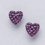 Pierced earrings stainless 8mm x 8mm February pave heart