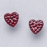 Pierced earrings stainless 8mm x 8mm January pave heart