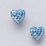 Pierced earrings stainless 8mm x 8mm March pave heart