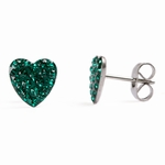 Pierced earrings stainless 8mm x 8mm May pave heart