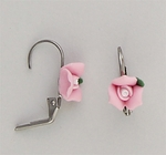 pierced earrings stainless Euro-clasp pink porcelain rose
