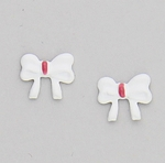Pierced earrings Stainless Steel Bow white and pink