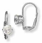 Pierced earrings Stainless Steel Cubic Zirconia Tiffany 6mm Euro-clasp