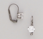Pierced earrings Stainless Cubic Zirconia prong set 6mm Euro-clasp