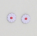 pierced earrings Stainless Steel Daisy lavender and pink