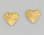 pierced earrings stainless steel Gold posted Heart diamond cut