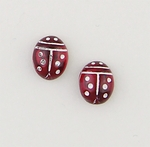 Pierced earrings Stainless Steel Ladybug red and white plastic