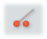 Pierced earrings Stainless Steel posted ball 3mm marigold yellow