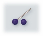 Pierced earrings Stainless Steel posted ball 3mm Purple
