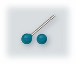 Pierced earrings Stainless Steel posted ball 3mm Sea Blue