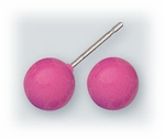 pierced earrings Stainless Steel posted ball 7mm Hot Pink