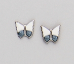 Pierced earrings Stainless Steel posted Butterfly white and denim