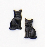 Pierced earrings Stainless Steel posted Cat black