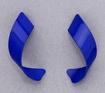 pierced Earrings Stainless Steel posted Curl bright blue