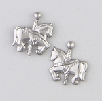 Pierced earrings Stainless Steel posted Horse tiny Carousel