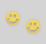 pierced earrings Stainless Steel posted Smiley face yellow