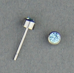 pierced earrings Stainless Steel posted stud 3mm March Birthstone
