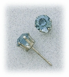Pierced earrings Stainless Steel Sapphire simulated 6mm prong setting