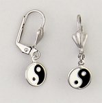 Pierced earrings Stainless Steel Yin Yang black and white Euro-clasp