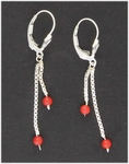 Pierced earrings sterling silver euro clasp chains & red bamboo coraL
