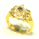 ring gold genuine sapphire Cubic Zirconia flower