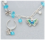 Set silver anklet toe ring blue butterfly blue beads on chain