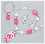 Set silver anklet toe ring pink flip flop pink and white beads on chain
