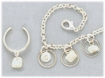 Set silver anklet toe ring silver rings and white shells on chain