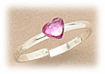 Sterling Siler toe ring adjustable with pink crystal heart