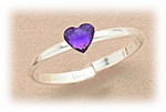 Sterling Siler toe ring adjustable with purple crystal heart