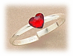 Sterling Siler toe ring adjustable with red crystal heart