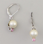Sterling Silver Earring euro clasp 8mm pearl and pin crystal drop