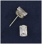 Sterling Silver earring posted cubic Zirconia 6mm by 4mm emerald cut