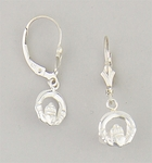Sterling Silver jewelry earrings euro clasp with hanging Claddaugh